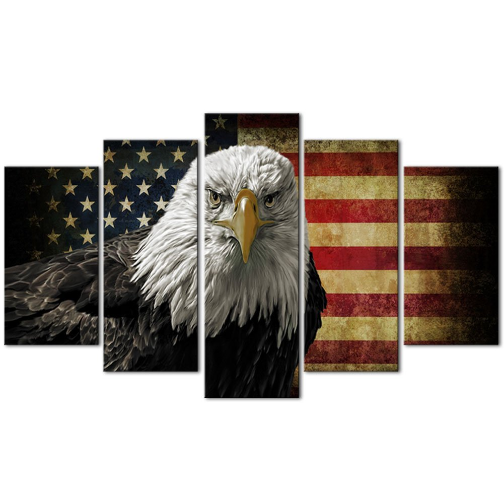 Melody Art-5 Piece American Flag Eagle Hawk Decorative Wall Art Oil Painting on Canvas Modern Artwork 5 Panels Stretched and Framed for Home Bedroom Living Room Office Decor and housewarming gift
