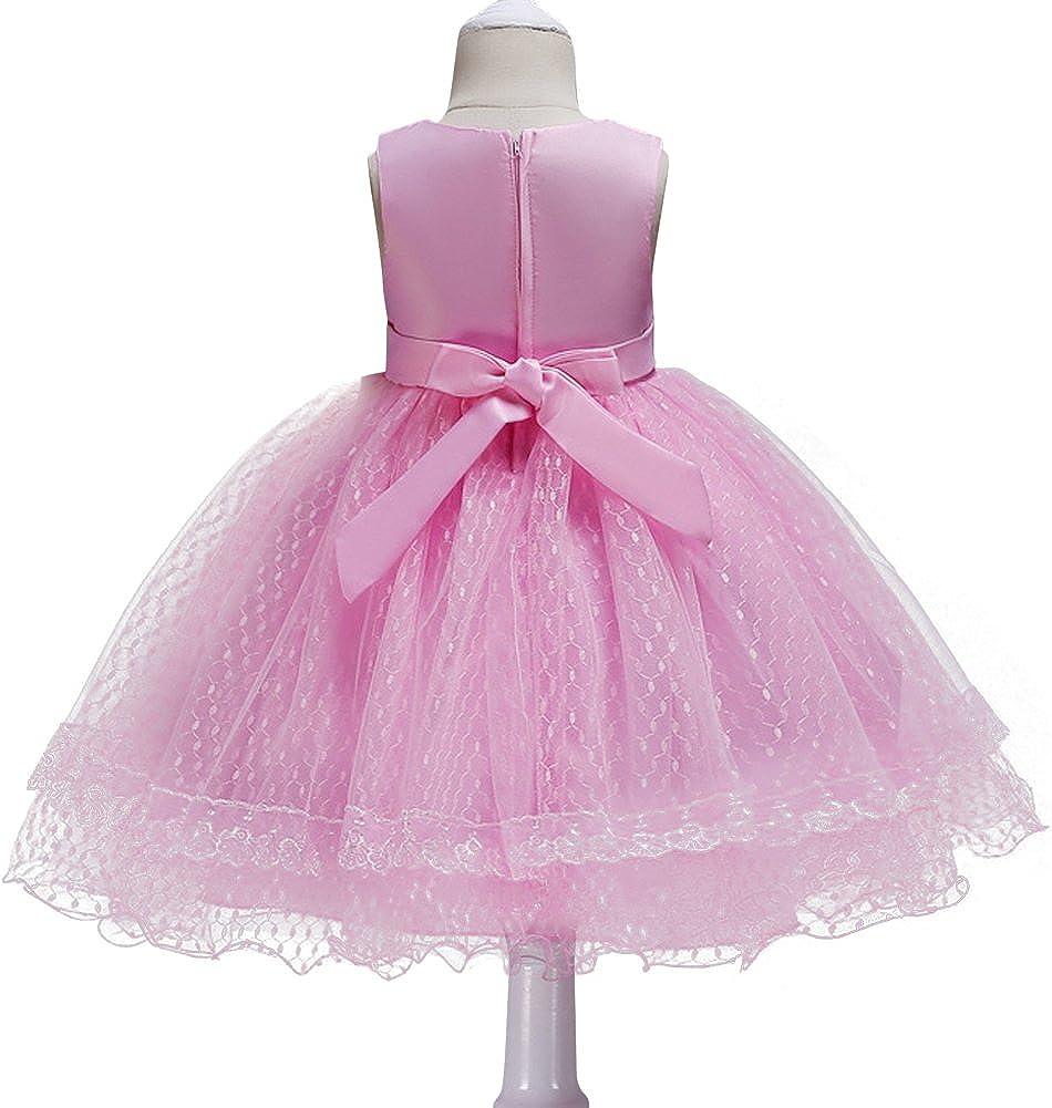 OBEEII Little Big Girl Lace Flower Tutu Dress Birthday Wedding Short Evening Gown