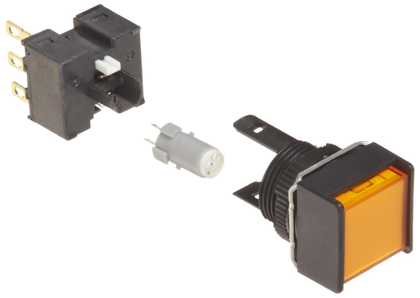 Omron A165L-AYM-5D-1 Two Way Guard Type Pushbutton and Switch, Solder Terminal, IP65 Oil-Resistant, 16mm Mounting Aperture, LED Lighted, Momentary Operation, Square, Yellow, 5 VDC Rated Voltage, Single Pole Double Throw