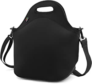 Insulated Lunch Bag, Nuovoware Neoprene Lunch Tote Reusable Picnic Bag Soft Thermal Cooler Tote Multi-purpose Grocery Container with Adjustable Crossbody Strap, Zip Closure, Black