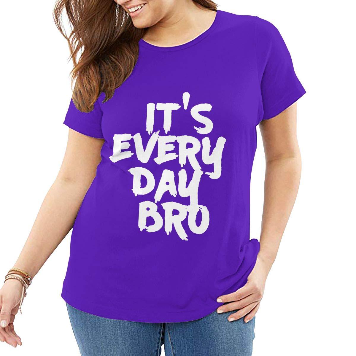 Fat Women's T Shirt Jake Paul It's Every Day BRO Tee Shirts T-Shirt Short-Sleeve Round Neck Tshirt for Women Girls Purple XXL by BKashy