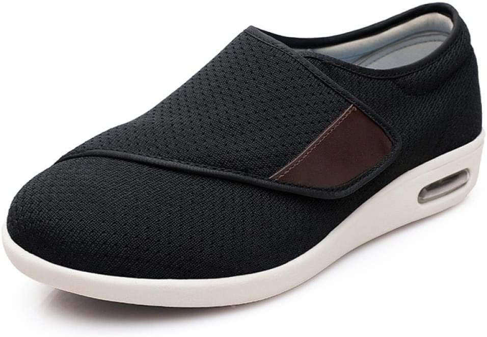 B/H Zapatillas para diabéticos,Zapatos de Hombre con Empeine Alto, pies hinchados-43_A Negro,Zapatos ortopédicos Ajustables