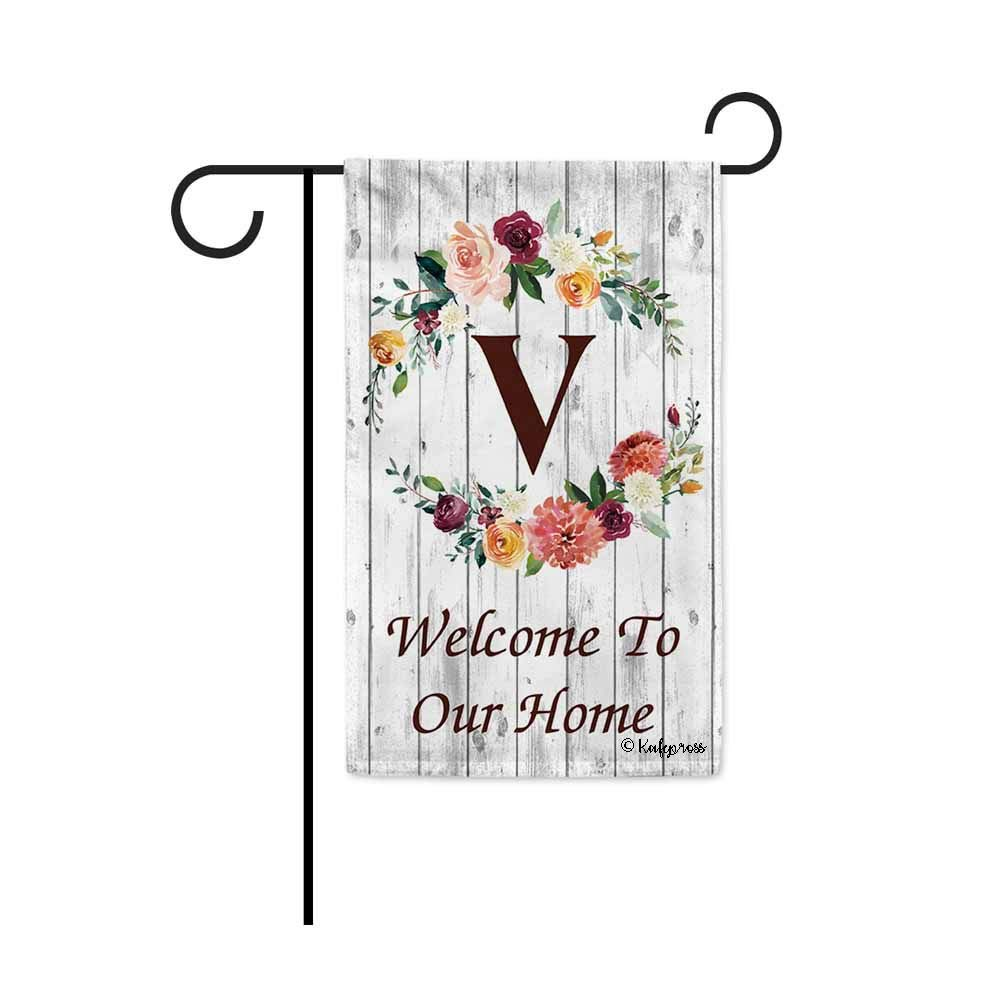 KafePross Hello Spring Flowers Summer Initial Letter Monogram V Garden Flag Welcome to Our Home Warminghouse Decor Banner for Outside 12.5X18 Inch Double Sided