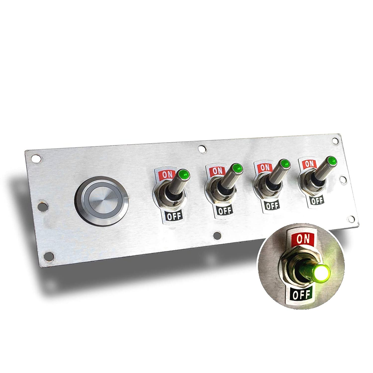 12 Volt Lighted Toggle Switch Panel with Green LEDs for Race Car and Truck MGI