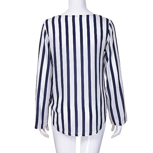 5ddd5779191bd BBsmile Camisas Mujer de Vestir Camisas Mujer Mujer Damas a Rayas Oficina  de Trabajo Irregular de Manga Larga Blusa Superior Camiseta  Amazon.es  Ropa  y ...