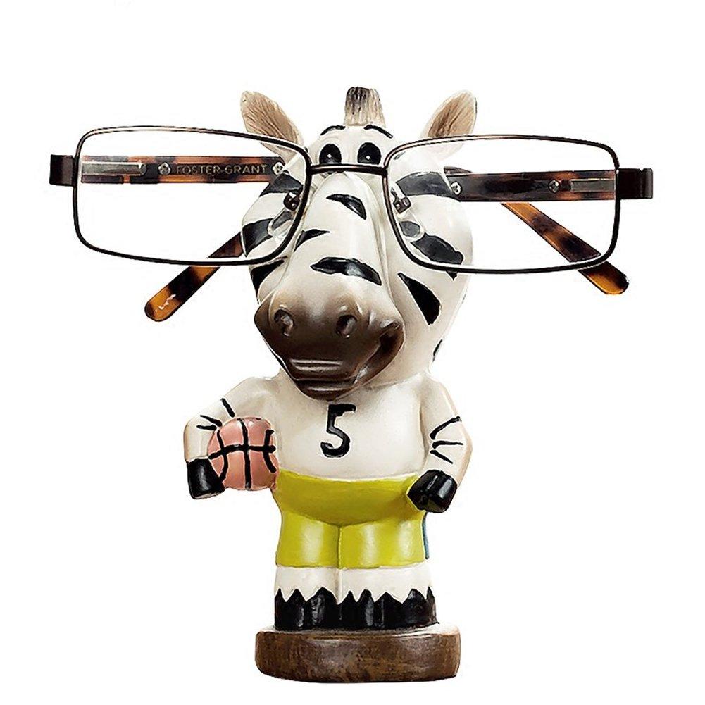 YOURNELO Cute Resin Animal Eyeglass Holder with Piggy Bank for Decoration (Zebra 2)