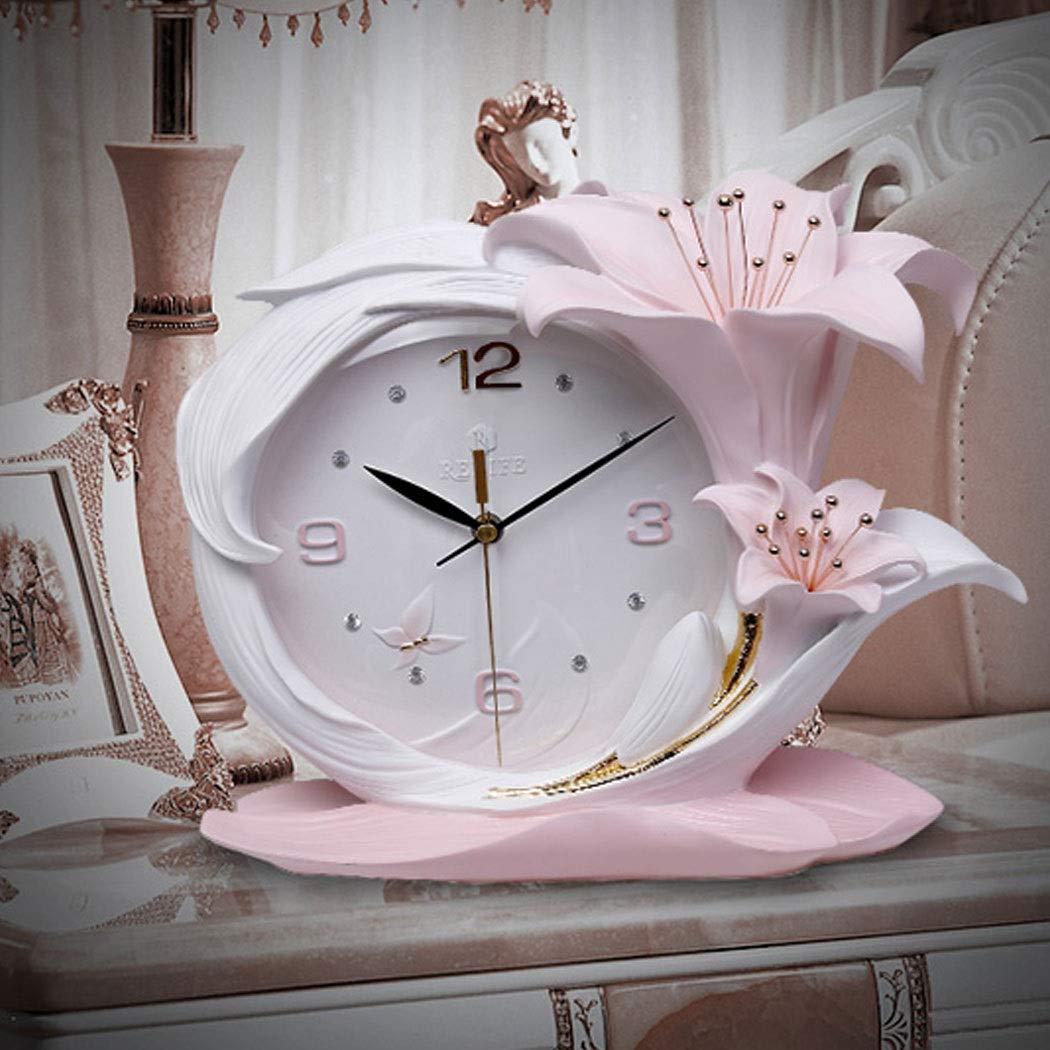 HONGNA Creative Resin Table Clock Living Room Stereo Clock Decoration Modern Fashion Desktop Art Decoration Bedroom Clock Simple Clock, Perfume Lily Small Fresh Table Clock Quality Assurance 3629cm by HONGNA (Image #4)