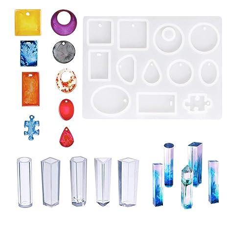 Woohome Gießformen Silikon für Die Schmuckherstellung, 17 Verschiedenen Muster Silikonform Gießform Resin für Anhänger Halske