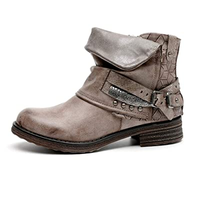 Dainzuy Women's Rivets Casual Shoes Round Toe Buckle Strap Low Heel Ankle Boots Zipper Short Western Boots: Clothing
