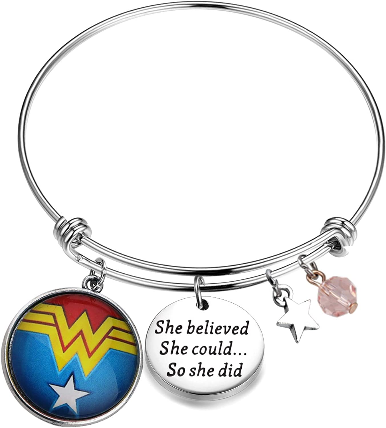 Lywjyb Birdgot Wonder Woman Inspired Bracelet She Believed She Could So She Did Wonder Woman Charms Jewelry Gift for Her
