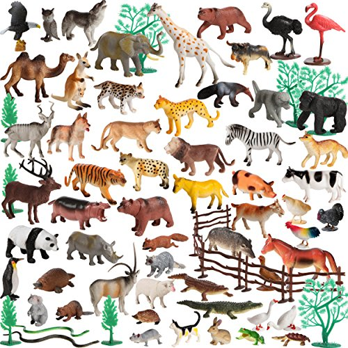 100 Piece Set of Animals Figures and Accessories in Storage Container. - 61LAty2Na1L - 100 Piece Set of Animals Figures and Accessories in Storage Container.
