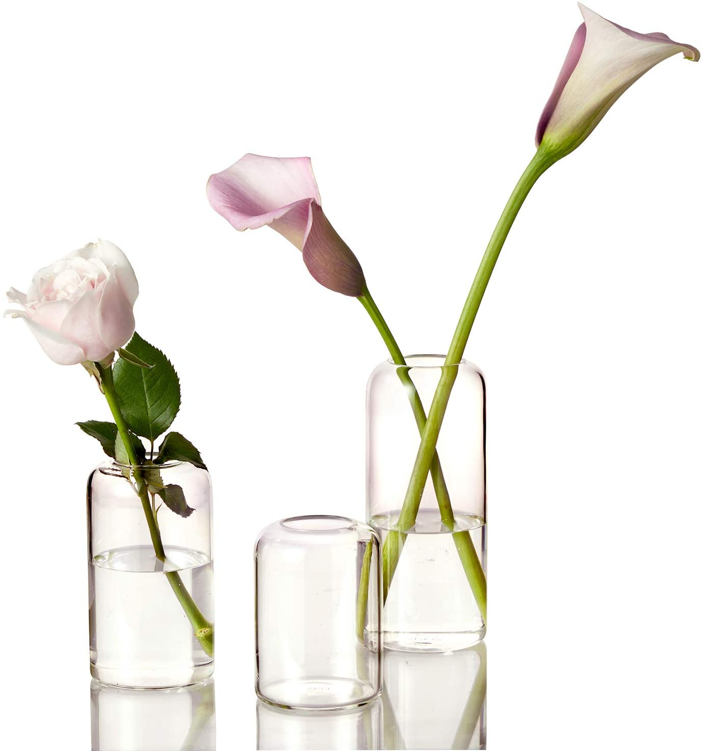 ZENS Bud Vases Glass Set, Clear Small Serene Spaces Living Vase Set of 3 for Centerpieces Home Decor, Modern Hand Blown Borosilicate Flowers Vases for Office or Wedding Events