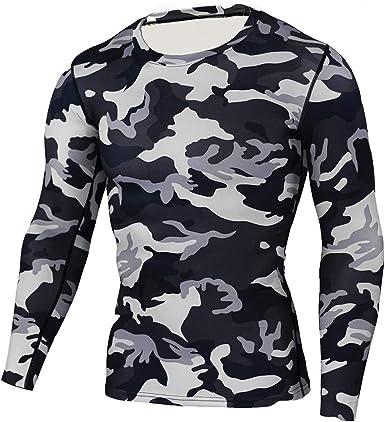 Hombres Compresión T-Shirt Deporte Apretado Camisa Manga ...