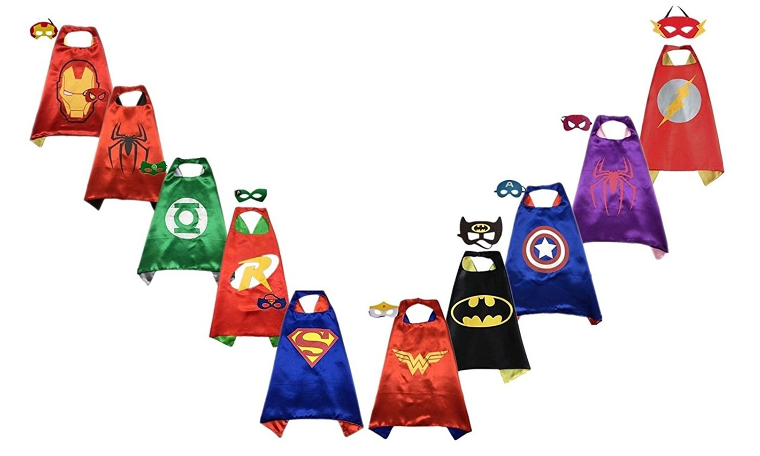 RANAVY Superhero Capes and Masks Bulk Set Dress Up for Kids - Children DIY Birthday Party Costumes (10 Pcs(27'' x 27''))