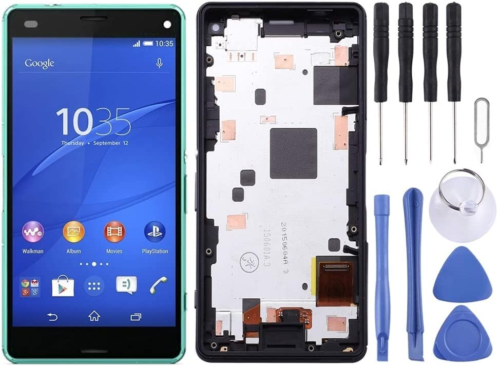 Color : Green Smartillumi for Spare Part LCD Screen and Digitizer Full Assembly with Frame for Sony Xperia Z3 Mini Compact Black