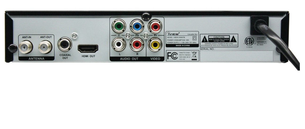 IVIEW 3500STB convertidor de video - Conversor de vídeo (1080i,1080p,576p,720p, ANT In, ANT Out, HDMI, Coaxial Out, Component Out, Composite Output, Negro, ...