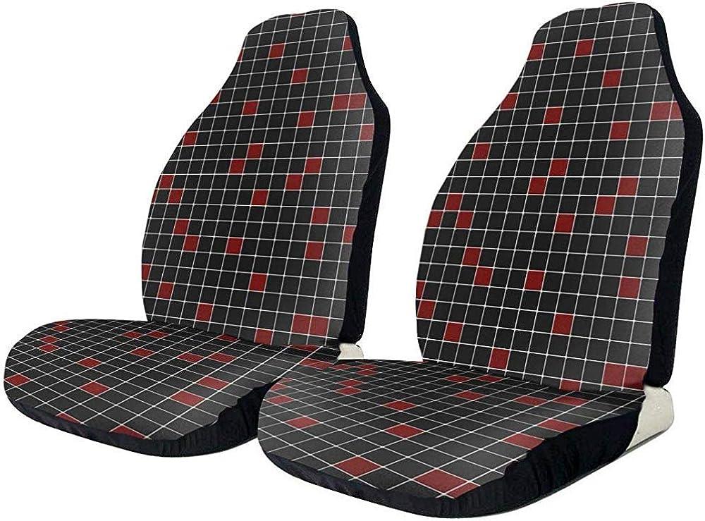 TABUE Juego de 2 fundas para asientos de coche cuadros rojos, aptas para la mayoría de vehículos, coches, sedán, camiones, todoterrenos