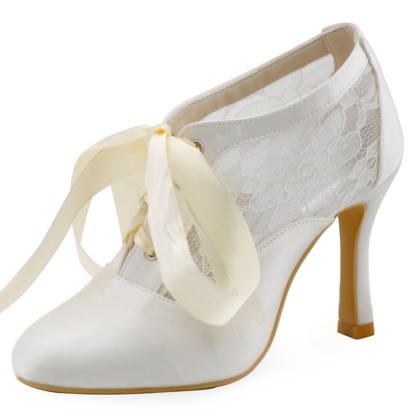ElegantPark HC1529 Women Closed Toe Bootie High Heel Pumps Lace Wedding Dress Ivory US 7