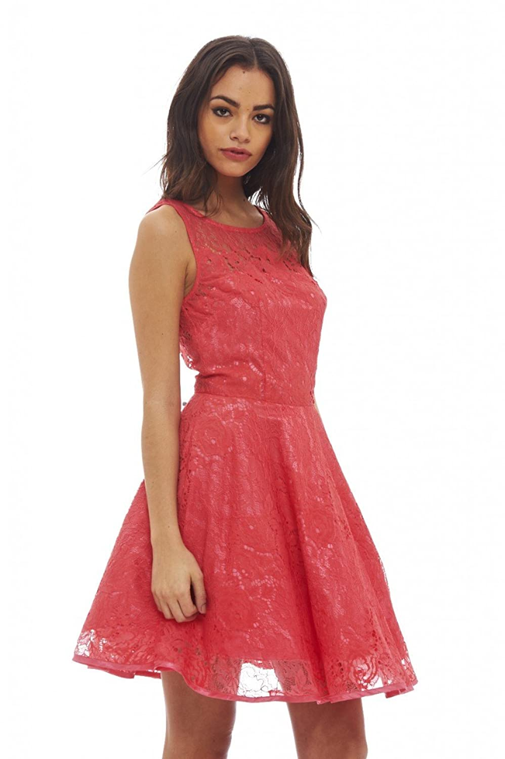 Ax Paris Womens All-Over Lace Skater Dress Coral Sleeveless Round Neck Party