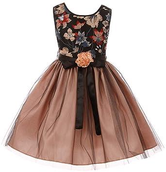 dc8457d499f Little Girls Floral Tulle Christmas Birthday Holiday Party Flower Girl Dress  Blush 4 (J21KS48)