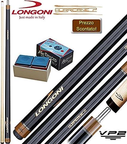 Longoni Hurricane 2 Wood Taco de billar, empalmado (carambola) fútbol y punta x 145 cm, diseño de piel de mm.12,8, junta Vp2 en acero. regalo Juego de yeso Blu Diamond Longoni: Amazon.es: