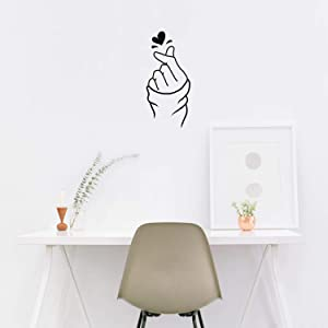 "Vinyl Wall Art Decal - Heart Hand Love Sign - 22"" x 10"" - Modern Cute Korean Gesture Trendy Decor Home Apartment Bedroom Living Room Work Office Business Indoor Outdoor Decor"