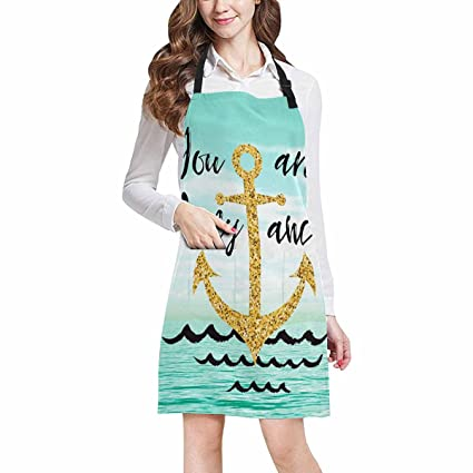 InterestPrint You Are My Anchor Nautical Anchor Quotes on Seascape Ocean  All Over Print Adjustable Bib Apron with Pockets - Commercial Restaurant  and ...