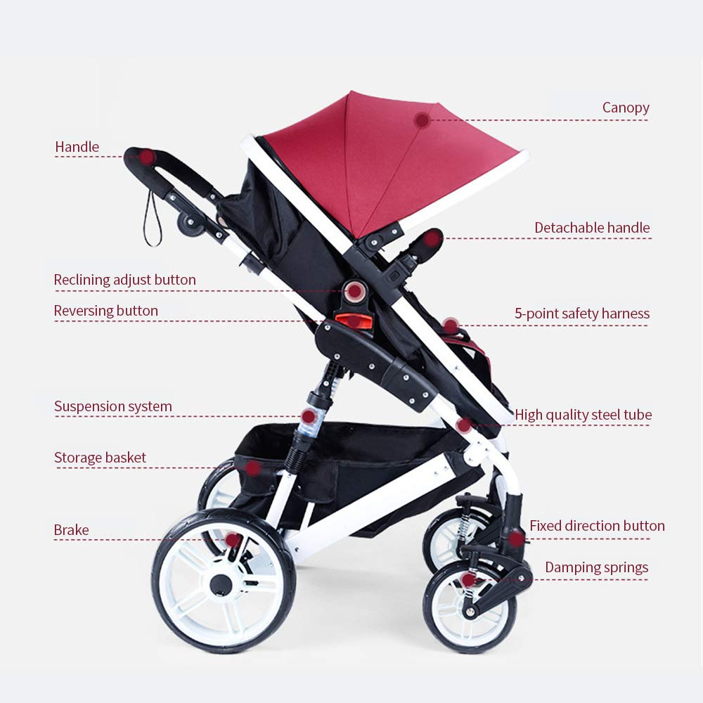 Festnight High View Baby Stroller Foldable Travel Pram Convertible Baby Carriage with Multi-Positon Reclining Seat Extended Canopy Newborn Infant Toddler Pushchair Red