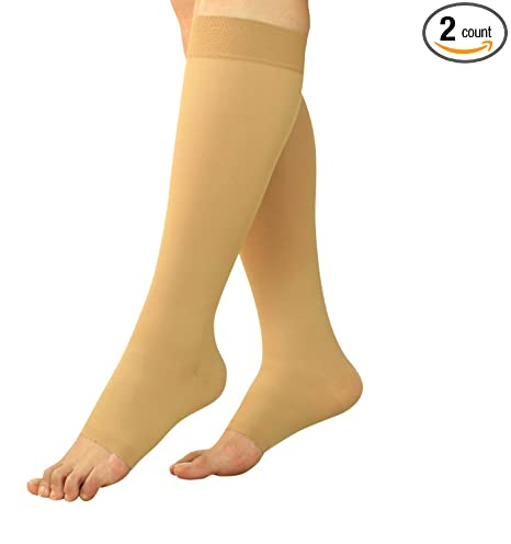 2656de82c Amazon.com  BeVisible Sports Maternity Compression Socks - Pregnancy  Stockings   Leggings Knee High Open Toe  Sports   Outdoors