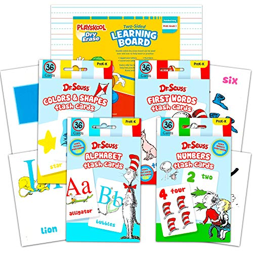 Dr. Seuss Flash Cards Super Set Toddler Kids -- 144 Flashcards (4 Packs) with White Board (Dr. Seuss ABC Flash Cards, Numbers Flash Cards, Colors and Shapes, First Words) with Stickers