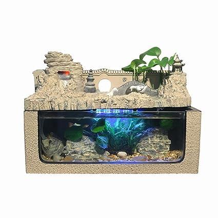 YAMEIJIA Fuente de Mesa, Escultura Decorativa de Fuente de Agua de Mesa (pecera +