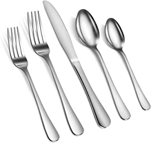 Cibeat Silverware Set, 20 Piece Flatware Set, Stainless Steel Home Kitchen Hotel Restaurant Tableware Cutlery Set, Service for 4, Include Knife/Fork/Spoon, Mirror Polished, Dishwasher Safe