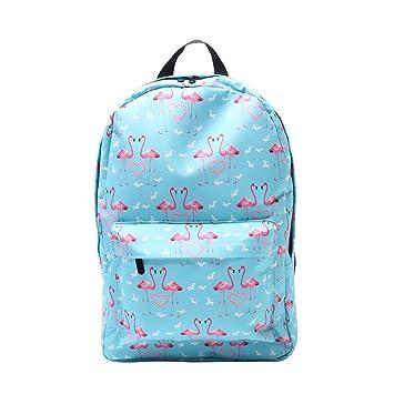 KOBWA Flamingo Mochila Escolar, Impermeable, Moda de Ocio, Bolsas de Escolar, Ligero Libro, Bolsas de Viaje para Niñas Adolescentes - 17 Pulgadas: ...