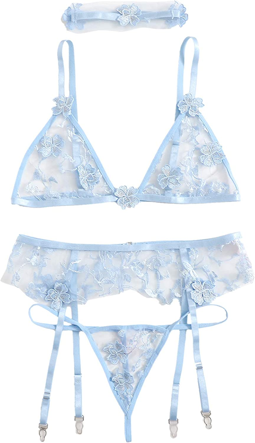 zdhoor Womans Floral Sheer 2 Piece Lingerie Set Embroidery Underwired Shelf Bra Hollow Out Panties Outfit