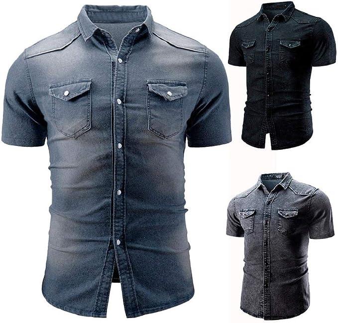 Camisa de Manga Corta Hombre SHOBDW Verano 2019 Nuevo Cuello Mao Camisetas Hombre Verano Negras Basicas Casual Moda Tops Blusas Hombre 3XL: Amazon.es: Ropa y accesorios