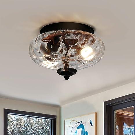Edislive Modern 2 Light Hammered Glass Flush Mount Light Pendant Ceiling Light Fixture 10 2 Indoor Ceiling Light For Hallyway Foyer Bedroom Amazon Com