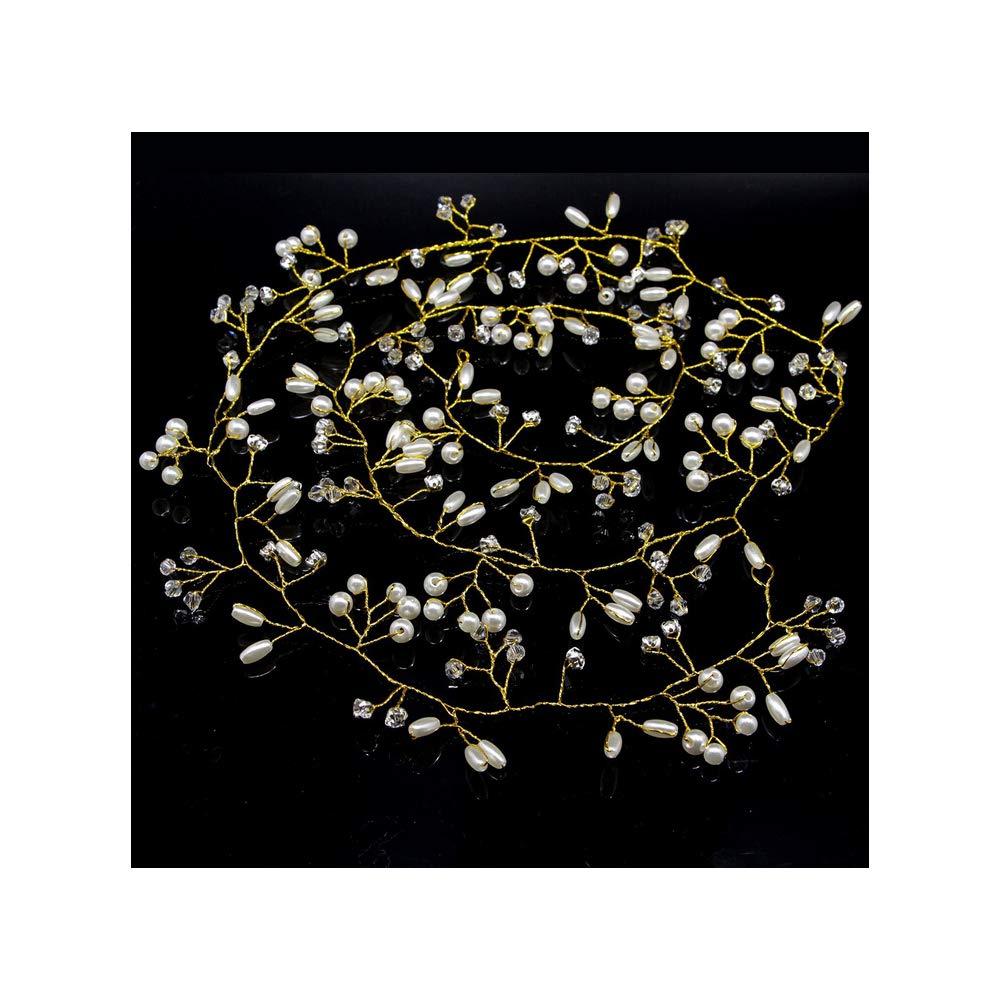 Bridal Wedding Headpiece Long Hair Vines Rhinestone Headband (50 CM, Gold)