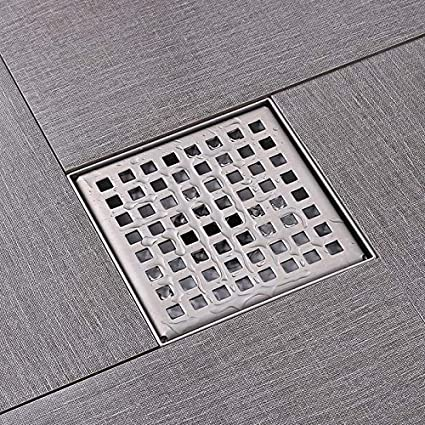 4 x 4 Inch Square Shower Floor Drain with Removable Quadrato Pattern ...