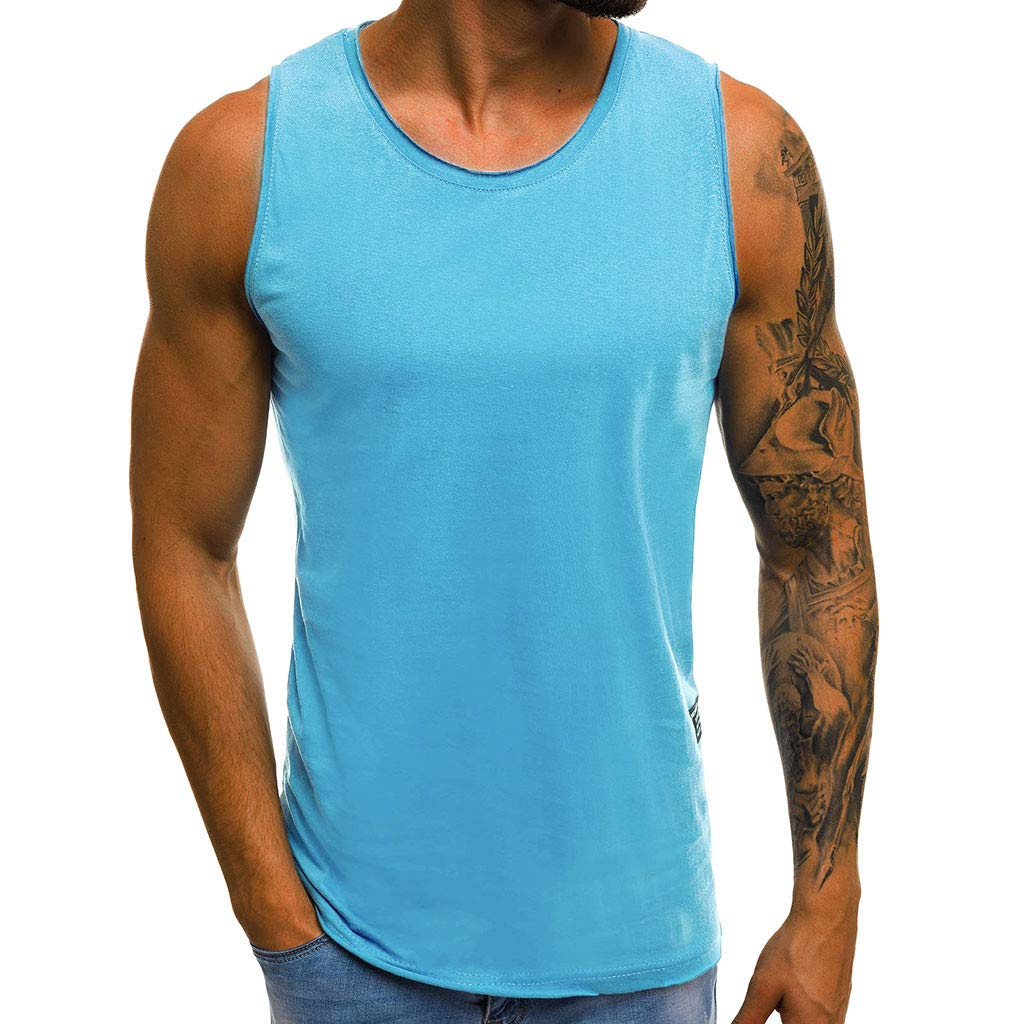 Tank Tops for Men Basic Solid Workout Casual Shirts Gym Athletic Training Sports Everyday Wear (XXXL, Blue)