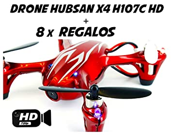 Hubsan X4 H107C Drone con cámara HD 2MP (Rojo/plata): Amazon.es ...