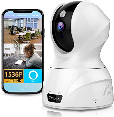 SereneLife 3MP WiFi IP Camera – HD 1536p – Smart Tracking PTZ Face Detection Alexa Compatible Wireless Home Security w Motion Detect, Night Vision Video – Mobile and Desktop Access – IPCAMHD50