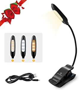 LENCENT 7 LED Book Light Rechargeable [UPGRADED], 3 Colors and 9 Brightness Modes (Warm & White), Eye Care Clip Reading Lamp for Kids and Bookworms, Lightweight, Flexible for Reading in Bed, Travel