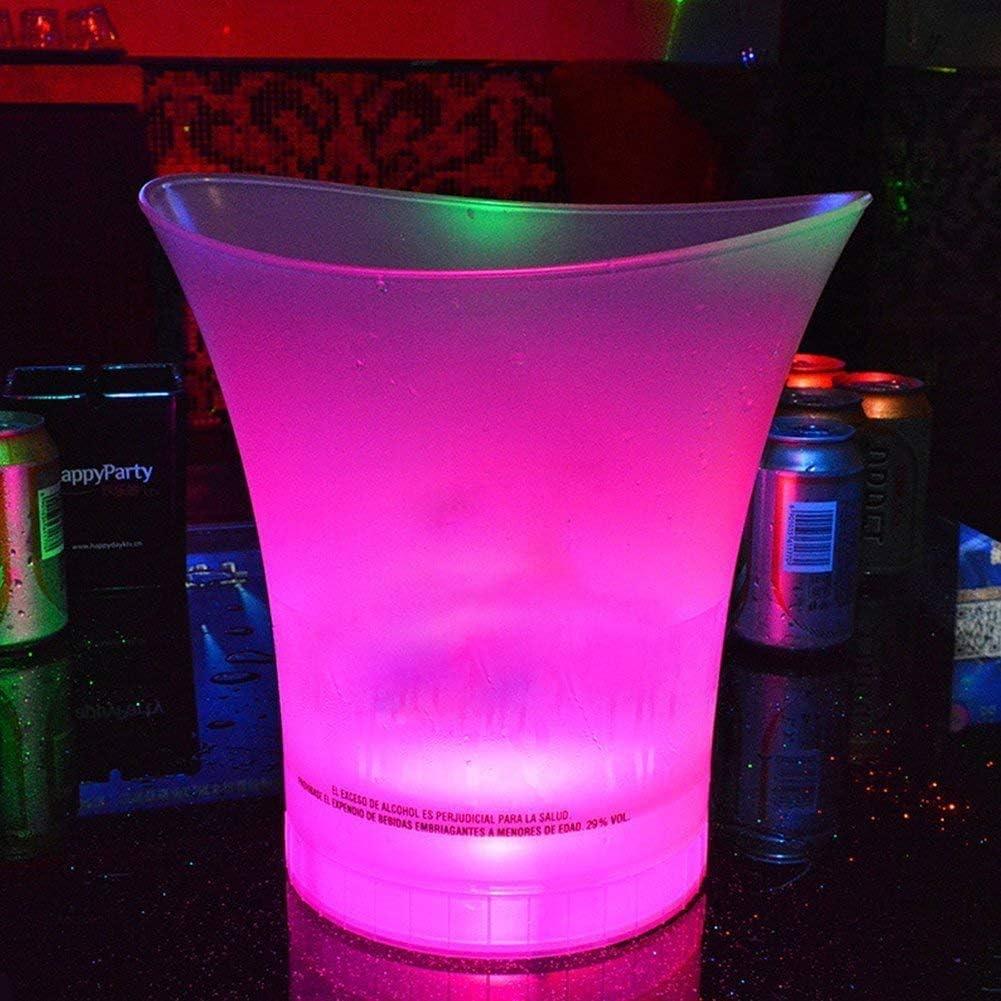 IJskoeler LED koeler emmer 5 L grote capaciteit champagne wijn dranken bierkuip voor KTV Party Bar Home Bruiloft 7 kleuren 5 stuks.