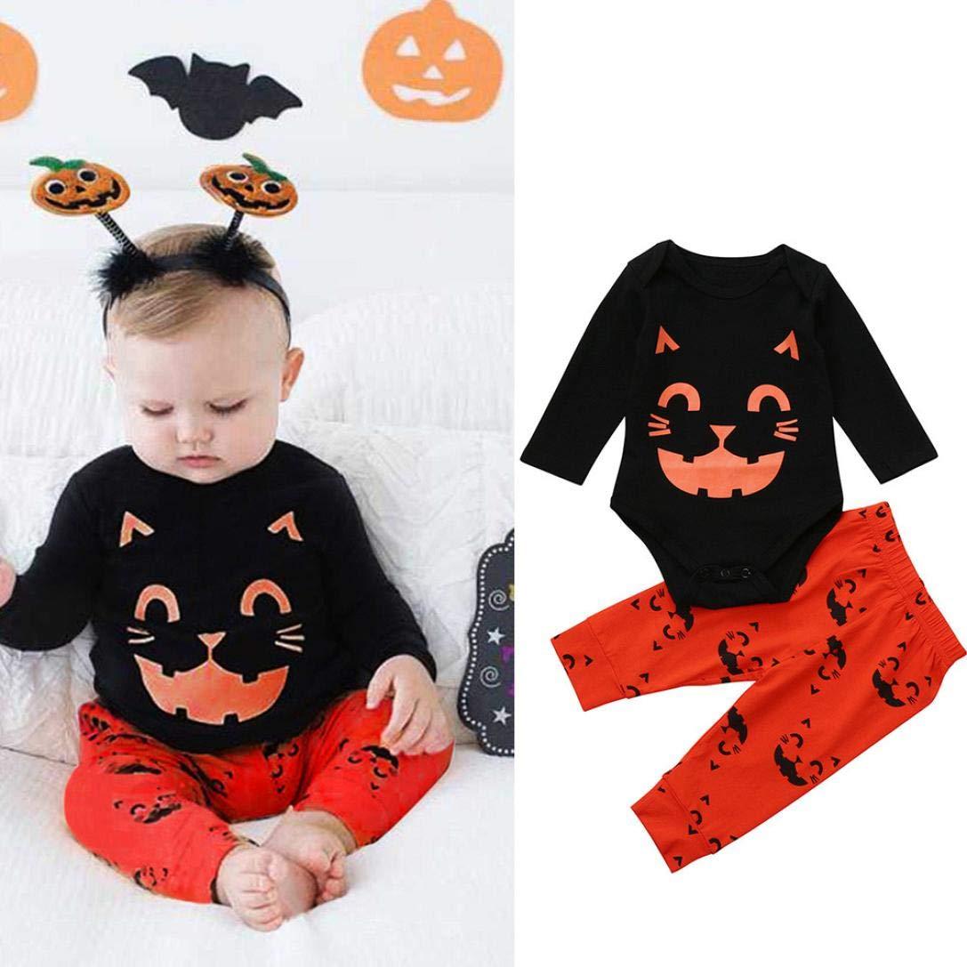 Pants Clothes HOT! Hstore Unisex Baby 2PCS Romper Halloween Cat Print Jumpsuit