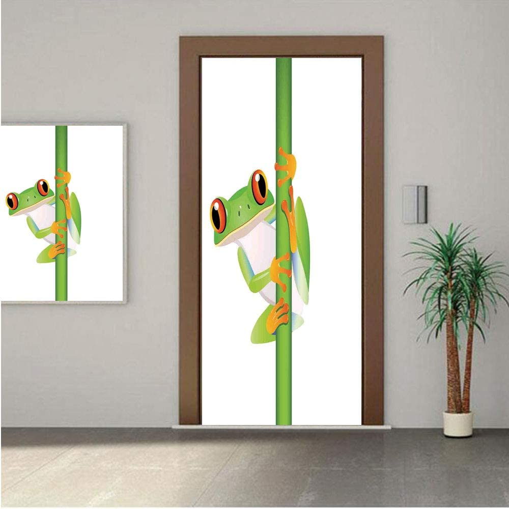 Ylljy00 Animal Decor Door Wall Mural Wallpaper Stickers,Graphic of Cute Frog Holding a Branch Rainforest Character in Wild Nature Life 18x80 Vinyl Removable Decals for Home Decoration