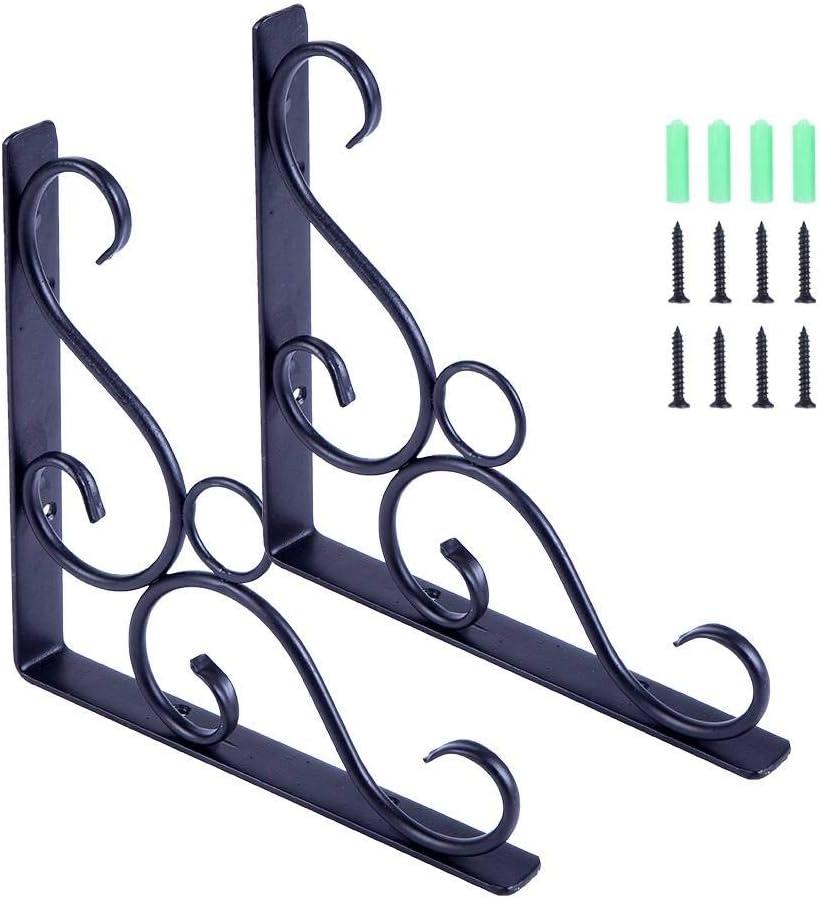 2pcs Cast Iron Antique Style Rustic Design Shelf Brackets Garden Braces Black