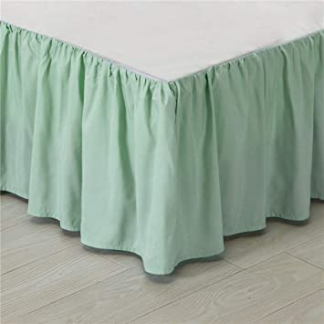 Green Bed Skirt Queen.Kokolife Ruffled Solid Bed Skirts Wrap Around With Platform Gathered Style 3 Sides Coverage Mint Green Queen