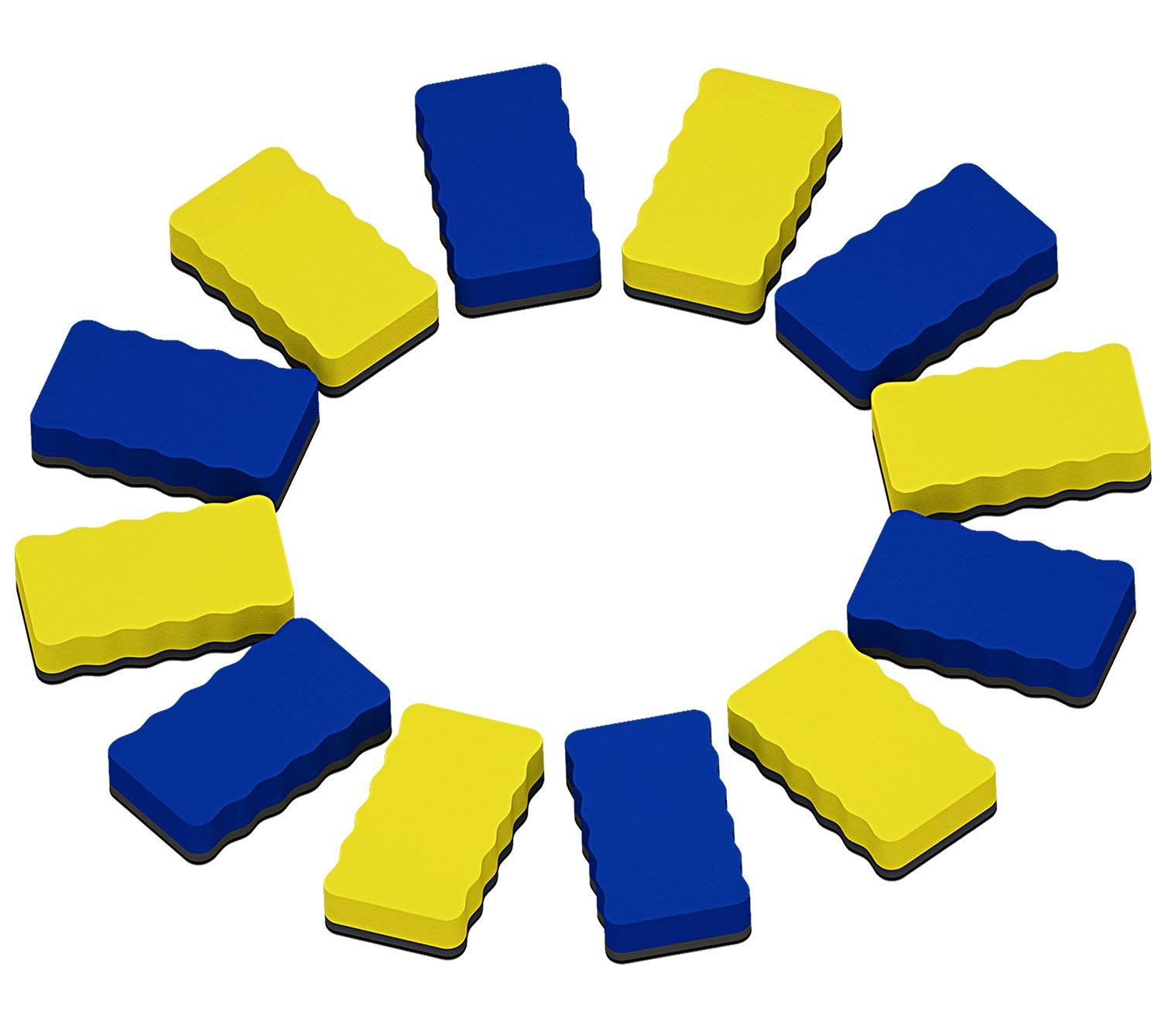 Attmu Magnetic Whiteboard Dry Erasers, 12 Pack - 6 Blue and 6 Yellow, 2.2 x 4 Inches Each by Attmu (Image #1)