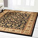 Home Dynamix Royalty Elati Area Rug | Traditional Living Room Rug | Classic Boarders and Medallion Prints | Persian-Inspired Design | Black, Ivory, Tan 3pc Set For Sale