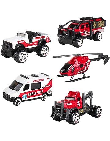 SunQ Carro de Rescate Ambulancia Camiones Car Model Vehículos de Mini Coches Helicóptero Juguetes Set para